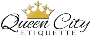 Queen City Etiquette Logo with shiny gold crown; fleur de lis